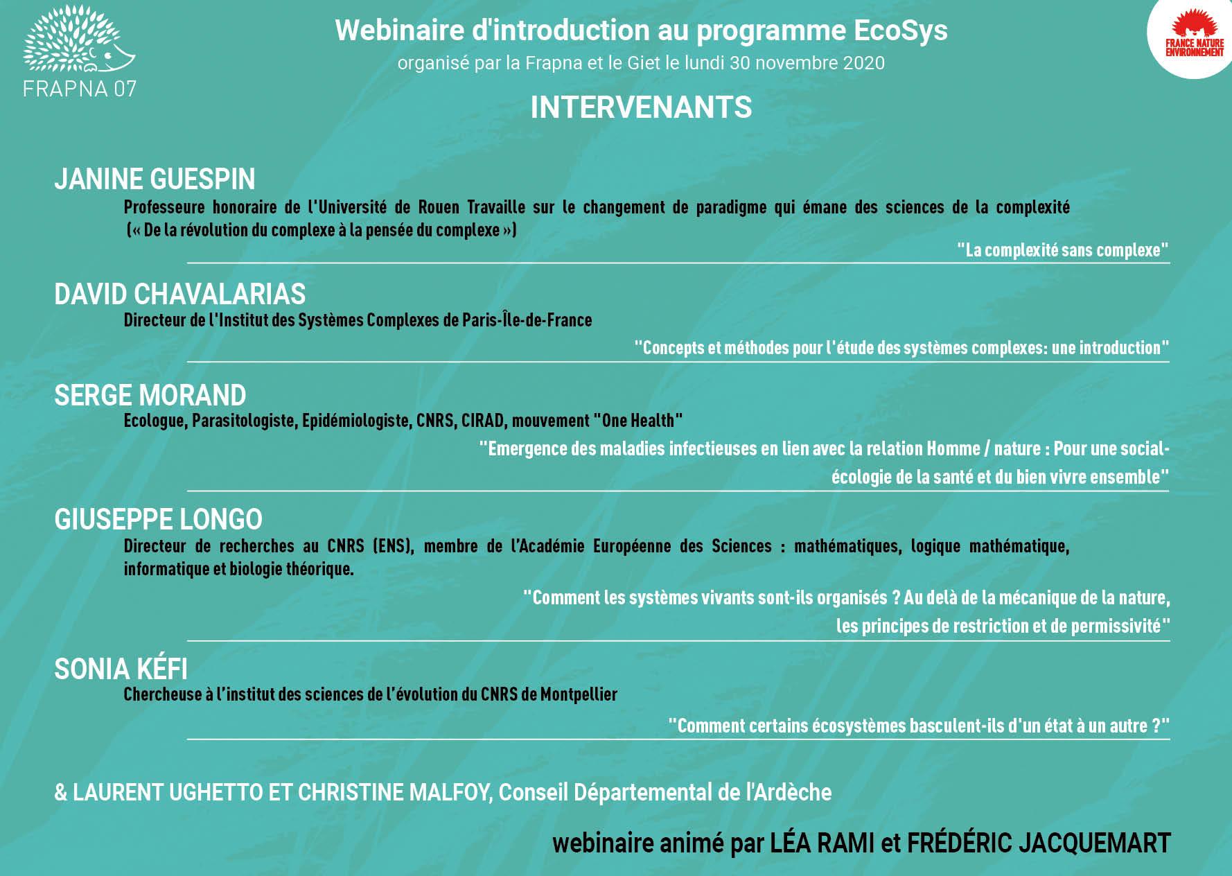 Vidéos ligne «webinaire d'introduction au programme EcoSys