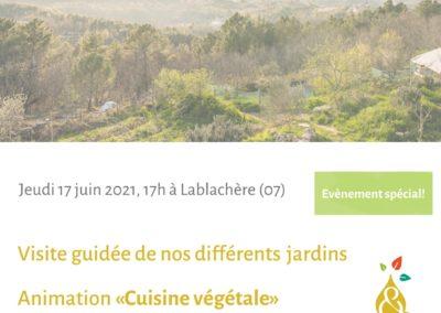 Visite guidée des jardins de T&H + atelier cuisine et repas